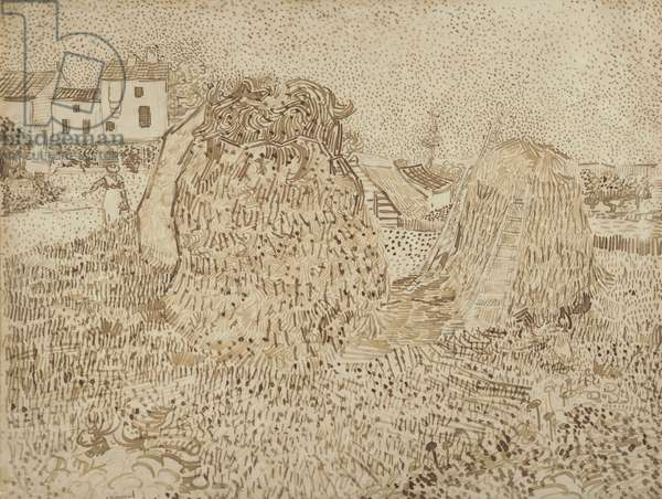 Haystacks, 1888 (ink & graphite on wove paper)