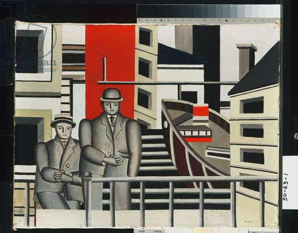 Animated Landscape (Two Men in the City), 1924 (oil on canvas)