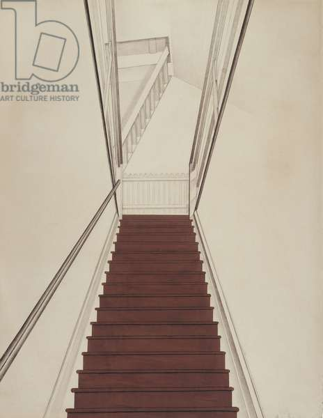 Stairway to the Studio, 1924 (chalk, crayon & opaque w/c on buff laid paper)