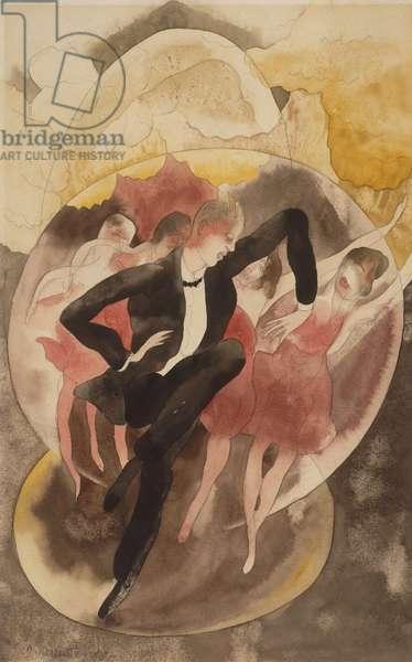 In Vaudeville (Dancer with Chorus) 1918 (w/c & pencil on paper)