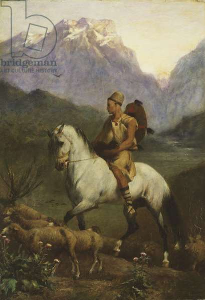 Kabyle Shepherd (Shepherd: High Plateau of Kabylia), after 1861 (oil on panel)