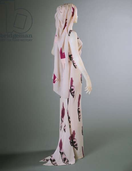 Evening Dress and Veil, Summer 1938 (printed silk crepe)