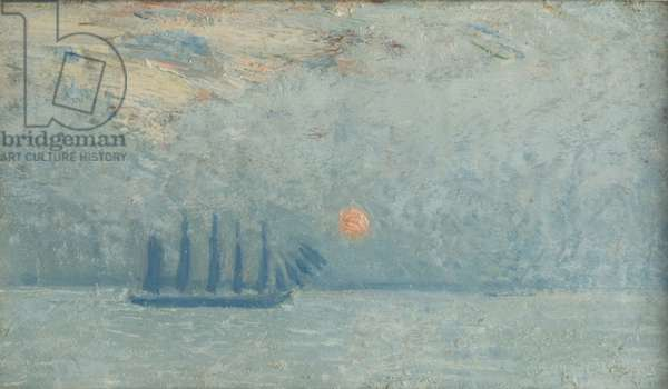 Boat off East Hampton, 1909 (oil on panel)