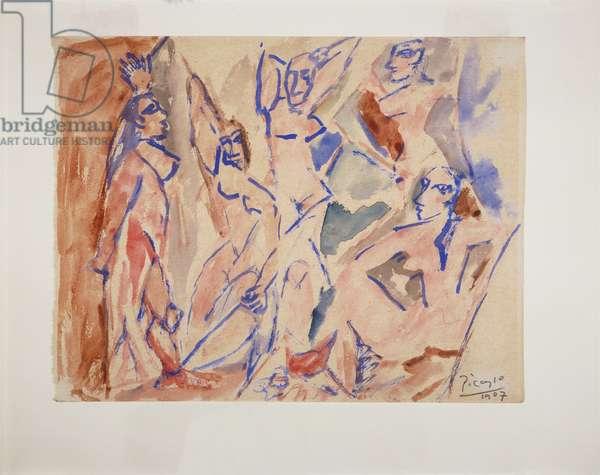"""Five Nudes (Study for """"Les Demoiselles d'Avignon""""), 1907 (w/c on cream wove paper)"""