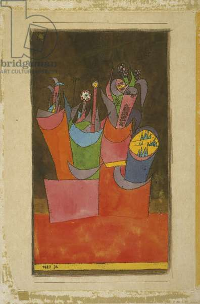 Flowers in Pots, 1923 (w/c over litho on cream wove paper, mounted on cardboard)