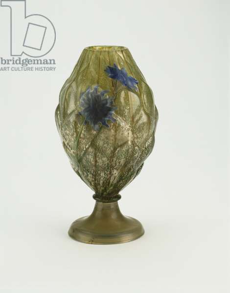 Vase, c.1900 (mold-blown glass with 'marquetry' & carved decoration)
