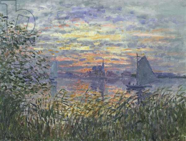 Marine View with a Sunset, c.1875 (oil on canvas)