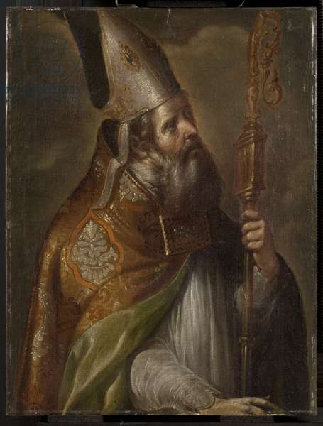 Bishop saint, mid 17th century (oil on canvas)