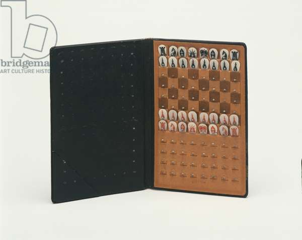 Pocket Chess Set, 1943 (leather, celluloid & pins)