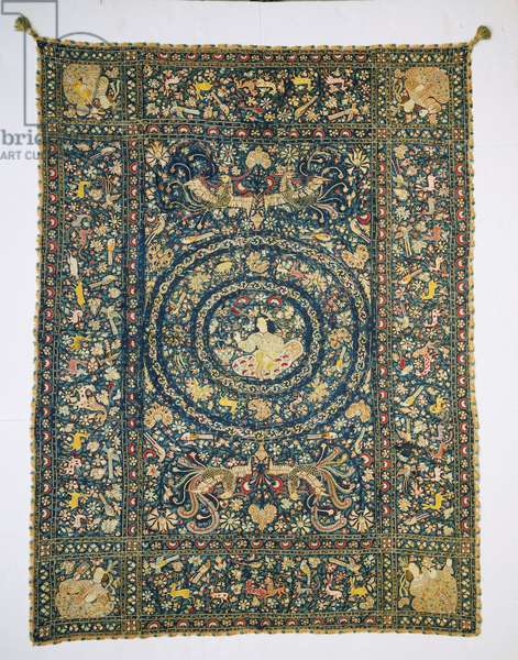 Bedcover, c.1680 (silk plain weave with silk embroidery in chain stitch)