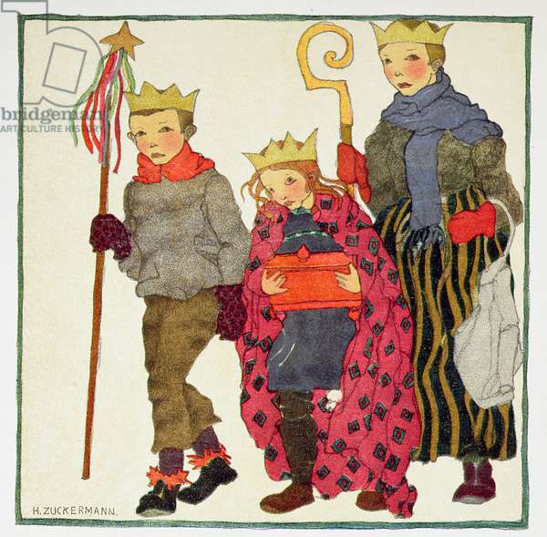 The Three Kings, c.1910, from 'Christmas', pub. by J.M. Dent & Sons, 1922 (linocut)