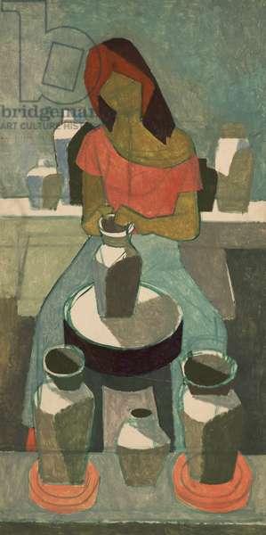 Woman Potter (oil on board)