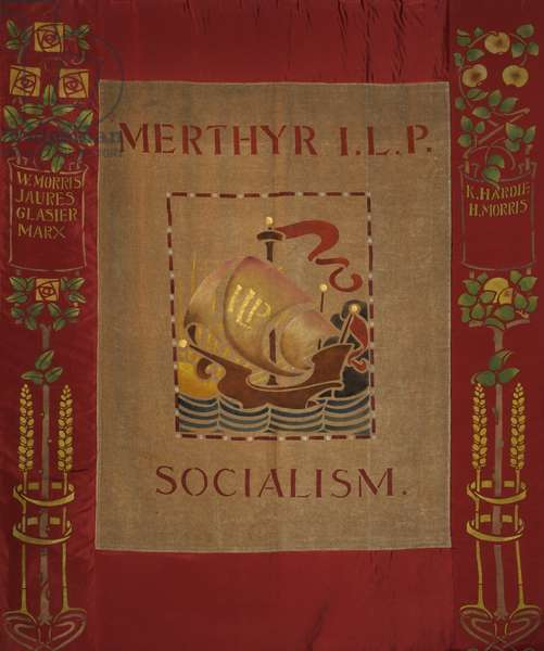 Merthyr Independent Labour Party Banner, c.1920 (oil on cotton, velvet & silk)