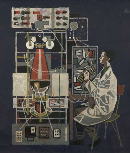 Scientist at Lab Bench (oil on paper on board)