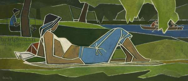 Woman Sunbathing in Park (oil on board)