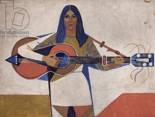 Female Guitarist (oil on board)