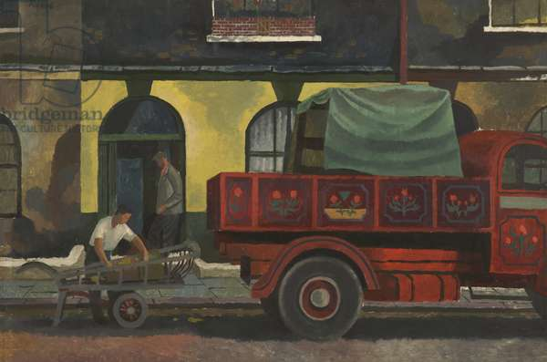 Removal Men (oil on board)