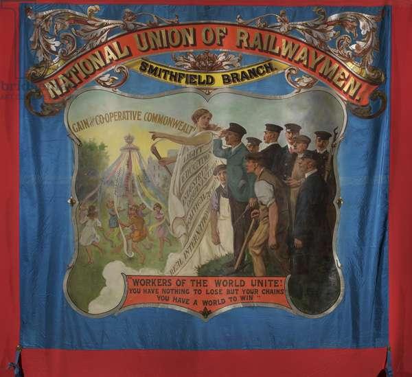 National Union of Railwaymen Smithfield Branch Banner, c.1925 (oil on silk)