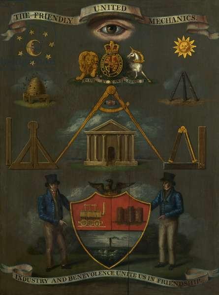 Friendly United Mechanics Cabinet Emblem, c.1830 (oil on wood)