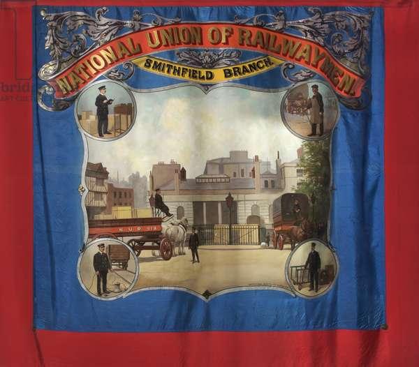 National Union of Railwaymen Smithfield Branch Banner, c.1925 (oil on textile)