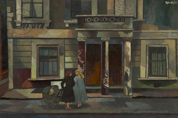 Two Women and Pram, 1937 (oil on board)