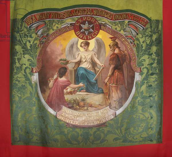 Dock, Wharf, Riverside and General Workers Union Banner, 1890s (oil on silk)