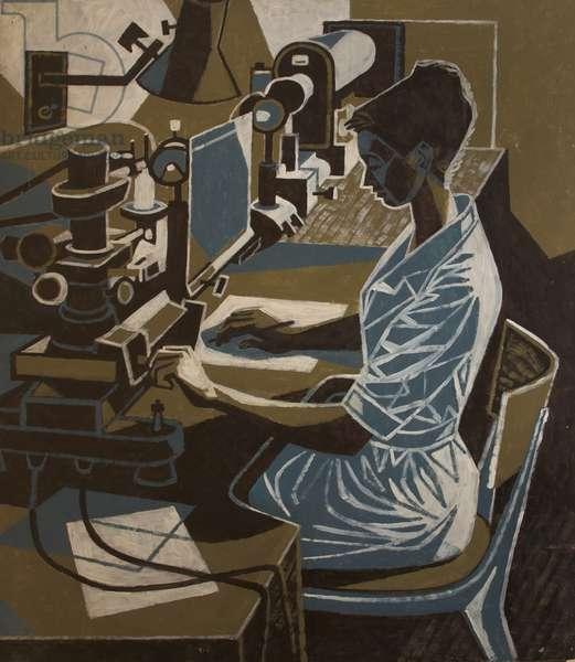 Woman Machinist, 1966 (oil on board)