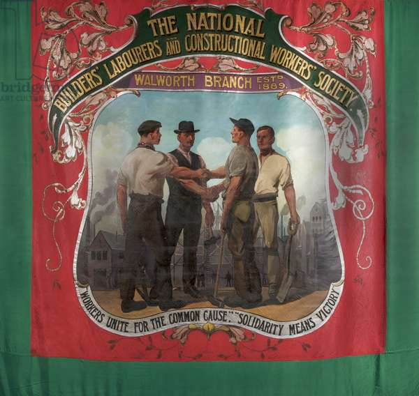 National Builders' Labourers And Constructional Workers Society Banner, c.1921 (oil on silk)