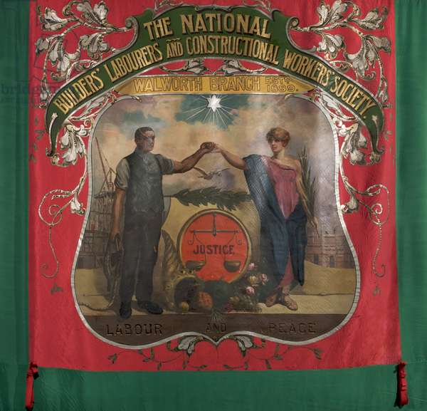 National Builders' Labourers And Constructional Workers Society Banner, c.1921 (oil on textile)