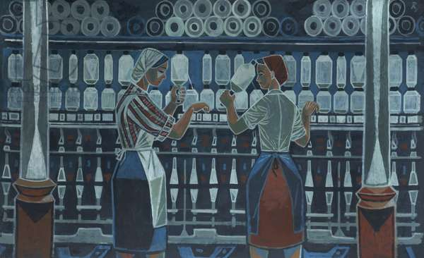Textile Workers (oil on board)