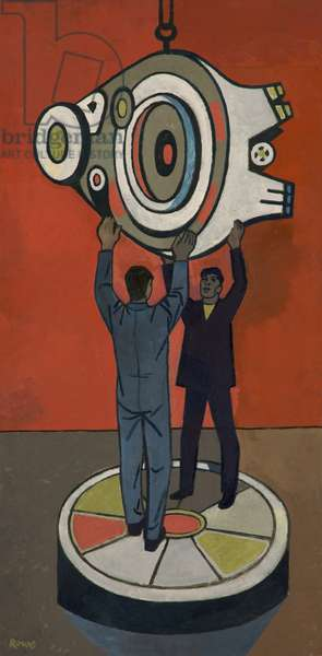 Men Hoisting Machine Section (oil on board)