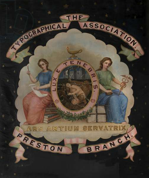 Typographical Association Banner, Preston Branch, 1849–82 (oil on textile)