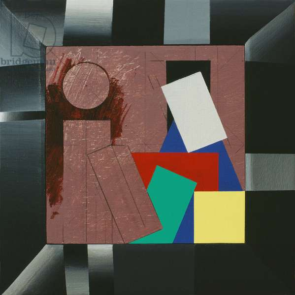 Cabinet Painting, 1991 (acrylic on wood (plywood panel with pine painted frame))