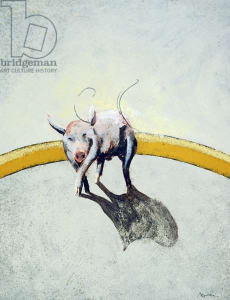 Pig Diptych, 1990 (tempera & gouache on paper) (see also 192670)