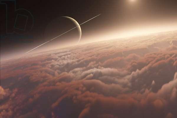 The clouds of Titan - Artist view - Titan's clouds