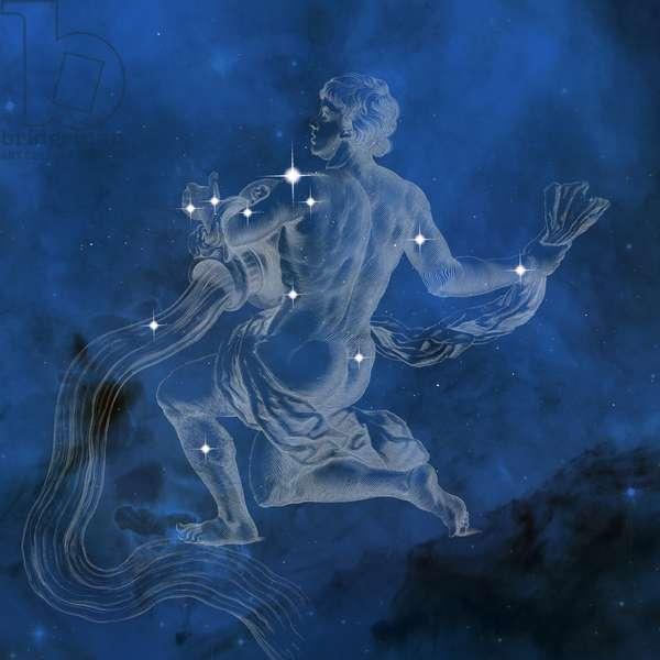 Constellation Aquarius - Constellation of Aquarius - The constellation Aquarius with its main stars. Constellation of Aquarius with its main stars