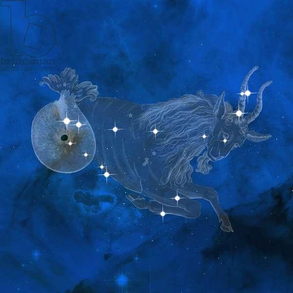 Constellation Capricorn - Constellation of Capricornus - The constellation Capricorn with its main stars. Capricorn with its main stars