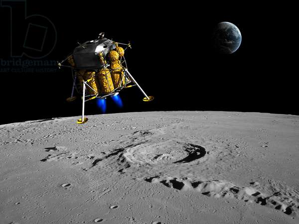 Landing - Illustration - Lunar descent - A lunar module begins its descent on the Moon. A lunar lander begins its descent to the moon's surface from an altitude of 40,000 feet