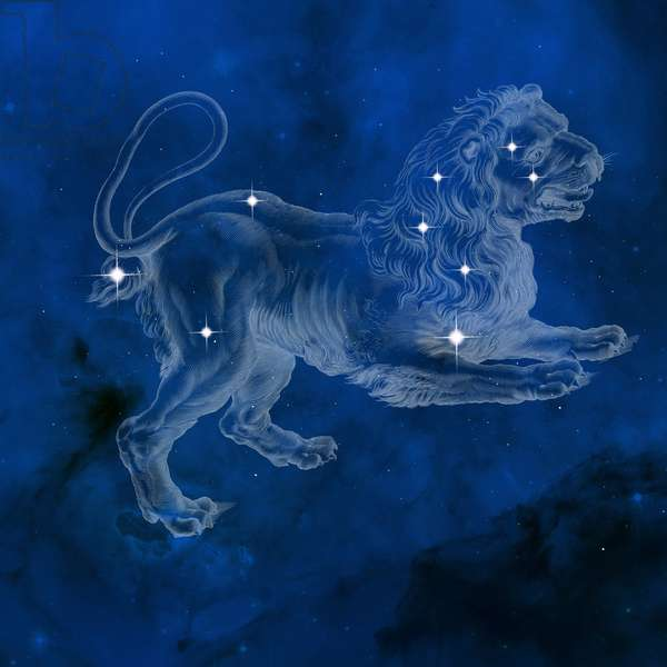 Constellation Leo - Leo constellation - The constellation Leo with its main stars. Constellation of Leo with its main stars