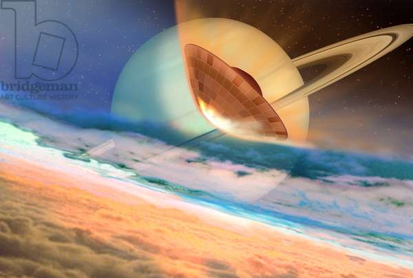 Huygens probe enters the atmosphere of Titan - The Huygens probe entering Titan's atmosphere - Artist's view of the European Huygens probe above the atmosphere of Titan. Huygens landed on the Titan satellite on 14 January 2005. The Cassini-Huygens probe was launched on 15 October 1997 and has been placed in orbit around Saturn since 1 July 2004. This artist's conception shows the Huygens probe close to enter Titan's atmosphere. The probe Huygens landed on Titan surface on January 14, 2005