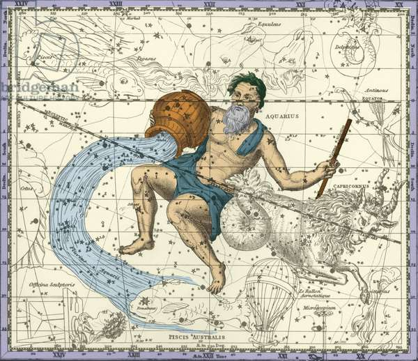 Aquarius Constellation - Constellation of Aquarius - Plate extracted from the Celeste Atlas by Alexander Jamieson - 1822 Recolorised by us. Celestial atlas of Alexander Jamieson. 1822. Recolored