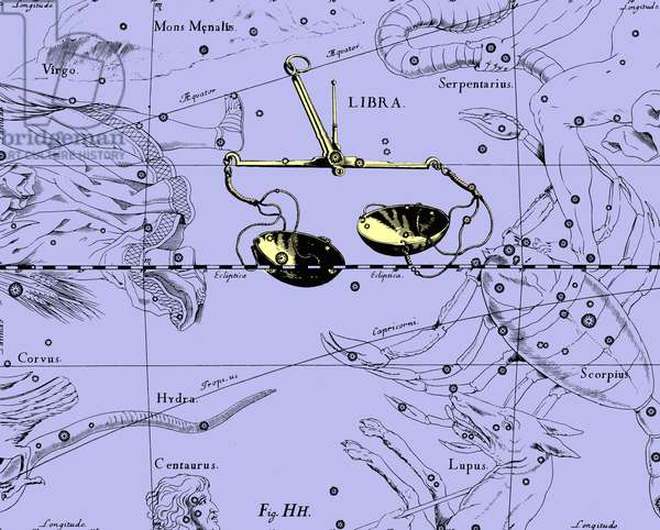 """Balance Constellation - Constellation of Libra - The constellation of Libra extracted from the Uranographia of Hevelius. Recolorised image. Map showing the constellation of Libra with its mythological form from """""""" Uranographia"""""""" star atlas by Hevelius (1690). Recolored Image"""