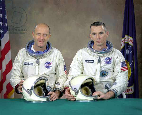 Gemini 9: crew lining - Gemini 9 backup crew - Gemini 9 mission replacement crew composed of Thomas Stafford and Eugene Cernan. This crew became the main crew on 28 February 1966, following the death of astronauts Elliot See and Charles Bassett. 5 January 1966. The Gemini 9 backup crew members are, Commander, Thomas P. Stafford and pilot Eugene A. Cernan. The back - up crew became the prime crew when on February 28, 1966 the prime crew for the Gemini 9 mission were killed when their twin seat T - 38 trainer jet aircraft crashed into a building during a landing approach in bad weather. Jan 05 1966