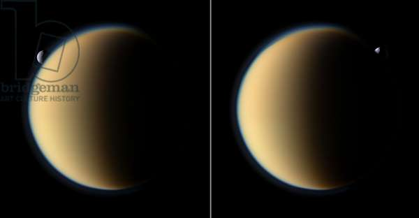 Tethys and Titan, Saturn satellites - Tethys and Titan - The Tethys satellite passes behind the Titan satellite. These images were taken 18 minutes apart (the first image taken is on the right) by the Cassini probe on 26 November 2009 at a distance of 1 million km from Titan and 2.2 million km from Tethys. Saturn's moon Tethys with its prominent Odysseus Crater silently slips behind Saturn's largest moon Titan and then emerges on the other side. Tethys is not actually enshrouded in Titan's atmosphere. Tethys (1,062 kilometers, or 660 miles across) is more than twice as far from Cassini than Titan (5,150 kilometers, or 3,200 miles across) in this sequence. Tethys is 2.2 million kilometers (1.4 million miles) from Cassini. Titan is about 1 million kilometers (621,000 miles) away. These two color views were captured about 18 minutes apart, with the view on the right taking place first. These images are part of a mutual event sequence in which one moon passes close to or in front of another as seen from the spacecraft. Such observations help scientists refine their understanding of the orbits of Saturn's moons. Images taken using red, green and blue spectral filters were combined to create this natural color view. The images were obtained with the Cassini spacecraft narrow - angle camera on Nov. 26, 2009. Image scale is 6 kilometers (4 miles) per pixel on Titan and 13 kilometers (8 miles) per pixel on Tethys