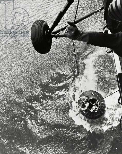 Mercury - Redstone - 3: Recupation of A.Shepard - Alan Shepard Hoisted from Mercury Capsule. May 05 1961
