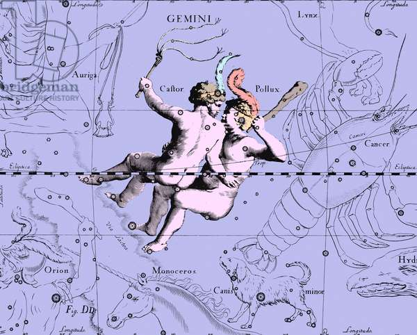 """The constellation Gemels - Constellation of Gemini - The constellation Gemels extracted from the Uranographia of Hevelius. Recolorised image. Map showing the constellation of Gemini with its mythological form from """""""" Uranographia"""""""" star atlas by Hevelius (1690). Recolored Image"""