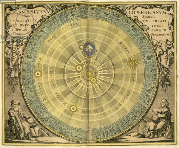 "Copernician System - Copernician System - Heliocentric model according to Nicolas Copernic. Engraving from ""Harmonia Macrocosmica"" by Andreas Cellarius, 1708. The Heliocentric model according to Copernicus. Plate of the Harmonia Macrocosmica of Andreas Cellarius, 1708"