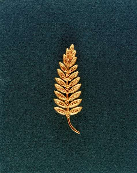 Apollo 11: olive branch in gold - Apollo 11: olive branch - Replica of the olive branch in gold, symbol of peace, left on the moon by Neil A. Armstrong. Gold replica of an olive branch, the traditional symbol of peace, left on moon's surface by Neil A. Armstrong