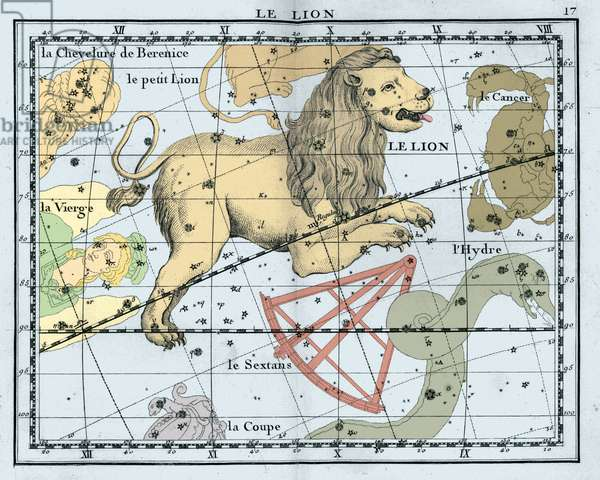 Constellation of the Lion - Leo constellation - Celestial Atlas by John Flamsteed published in 1776 by J. Fortin Third edition, reviewed, corrected and augmented by Messrs. Delalande and Megain. Recolorise by us Celestial Atlas of John Flamsteed published in 1776. Recolored