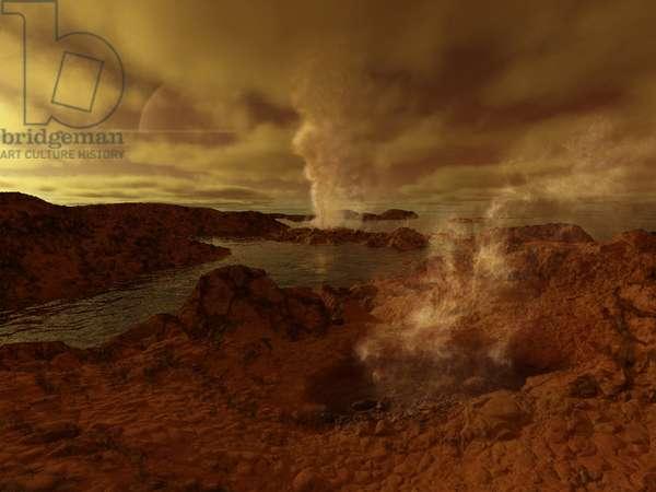 Geyser on Titan - Artist View - Titan thermal features: Artist view of geysers on the surface of Titan, Saturn's largest satellite